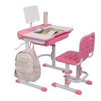 Waco Enfants Table d'étude, Bureau et chaise Set Enfants réglables à la main en hauteur à la main Tiltable, avec tiroir à crayon de bibliothèque, rose