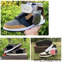 2020 NUEVO Jumpman 1 Zapatos de baloncesto Travis Scotts Mens OG 1S High Barb Brown Men Brown Sport Sneaker Shoes