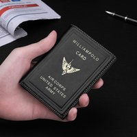 Air Force style Wallet Retro Short Genuine Leather Ultra Slim Credit Card Holders ID Card Case