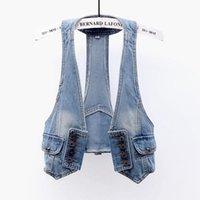 Women's Vests Vintage Wash Blue Sling Denim Vest Women Waistcoat 2021 Summer Student Sleeveless Jacket Big Size Slim Short Jeans Female