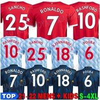 22 22 Ronaldo Sancho Rashford Jerseys 2021 2022 맨체스터 Pogba Cavani Martial Shaw Van de Beek B. Fernandes United Greenwood UTD 축구 축구 셔츠 맨 키트 키트