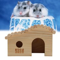 Small Animal Supplies Dwarf Hamster House DIY Wood Hut Hideout Cage For Animals Pet Rat Hamsters Guinea