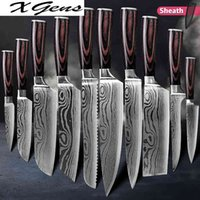 Couteaux de cuisine Set Couteaux de chef professionnel Japonais 7Cr17 440C Haute en acier inoxydable en acier inoxydable en acier inoxydable Damascus