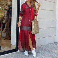 Casual Dresses Cotton Loose Maxi Long Sleeve Plaid Printed Shirt Dress Vintage Botton Pocket Spring Autumn Party Clothes Robe