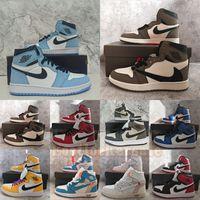1s Chaussures de basket-ball pour hommes 1 UNC Twist Dark Mocha University Bleu Noir Hyper Royal Shadow Smoke Grey Jumpman Baskets de sport Baskets pour femmes Taille 13