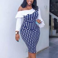 캐주얼 드레스 여성 폴카 도트 인쇄 드레스 한 어깨 불규칙한 패치 워크 프릴 긴 소매 플러스 사이즈 슬림 바디 콘 파티 생일 로브