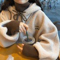 خروف أفخم المرأة طويلة الأكمام هوديس القطن مزيج الدافئة زائد حجم فضفاض المرأة عارضة قمم الخريف والشتاء نمط الكورية الجديدة