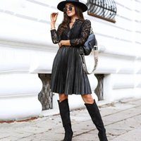 Casual Dresses Button Up Shirt Dress Black Ladies Embroidery Lace PU Faux Leather A Line Ruched Fall Autumn Clothes For Women Arrival 2021