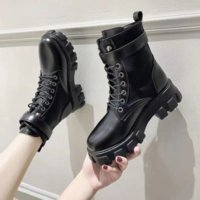2021 New Black Platform Combat Ankle Boots for Women Lace Up Buckle Strap Woman Thicken Boots Winter Biker Boots Botas De Mujer