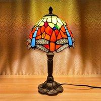 Table Lamps Lamp Mediterranean Tiffany Creative Handamde Stained Glass Desktop Decoration Light E27 Nightstand Bedroom Night