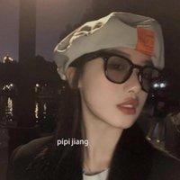 Berets INS Korea Thin Beret Hats Women Summer Letter Patch Adjustable Casquette Octagonal Designer Painter Brimless Gorro