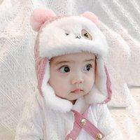 Bebê orelha quente proteção inverno engrossado tapper tampão protetor de orelha tampas de velo forma gata lei feng chapéu girl urso cartoon chapéus
