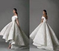 2021 Abiti da sposa di lusso fuori dalla spalla pizzo 3d floreale appliqued ad alta bassa basse abiti da sposa sweep treno vestito da sposa vintage su misura