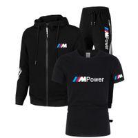 2021 BMW M 남성용 3 피스 체육관 러닝 축구 유니폼 탑 캐주얼 스포츠웨어 후드 티 슈트 봄 얇은 지퍼 자켓 + 바지