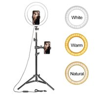 Tikok Youtube Makeup fill lighting Video Live Shooting LED Ring Light 10 inch with phone holder Tripod Stand Selfie
