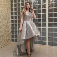 Arabic One Shoulder High Low Prom Dresses Sparkly Silver Sequined Celebrity Evening Gowns Short Front Long Back Cheap Plus Size Formal Wear