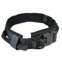 Colar de cachorro com tag de cão Nylon Ajustável Militar Tactical Grande Colar De Cão Com Handle Treinamento Running Personalizado Pet Colar 745 K2