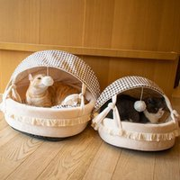Cat Beds & Furniture Pet Bed For Cats Dogs Soft Nest Kennel Cave House Sleeping Bag Mat Pad Tent Pets Winter Warm Accessories Toys