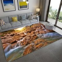 Carpets 2021 Natural Scenery 3D Carpet For Living Room Green Forest Waterfall Landscape Rug Bedroom Anti-slip In Bathroom Large