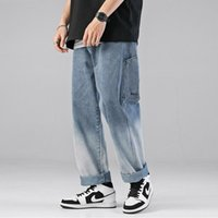 Men's Jeans Spring Autumn Fashion Mens Loose Casual Pants Wide-leg Gradient Embroidery Stitching Trousers Trend Summer Daily -40