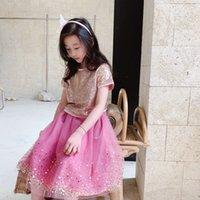 SEQUINE ENFANTS Filles Set 2021 Été Bébé fille T-shirt avec jupe 2pcs / costumes Tops de vêtements roses