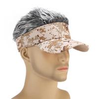 Hut Unisex Lustige Perücke Tarnung CAP Fake Hair Visor Casual Outdoor Golf Caps Perücke Baseballmütze Outdoor Eltern-Kind Straße # P5 Q0703