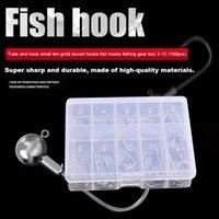 Fishing Hooks 100pcs Set Metal Single Circle Bait Holder Barbed Fishhook Carp Tackle Sea Accessories