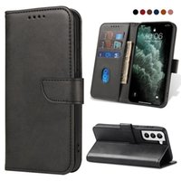 Luxury Phone Case Leather Cases Soft PU for Samsung Galaxy S9 s10 s21plus Ultra Note 9 10 20 A72 A75 A7 A32 Shockproof Magnetic Grade Wallet Card Slots Cover