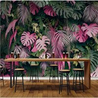 Wallpapers Pink Green Tropical Rainforest Plant Leaves 3D Po For Living Room Bedroom Restaurant Cafe Decor Wall Paper