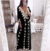 Dubai Turkey Muslim Abaya Boho Women Dress Summer Tassel Moroccan Kaftan Sundress Islamic Clothing Plus Size Ropa Long Robes