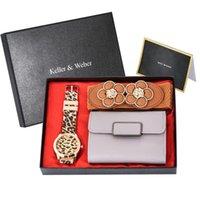 Armbanduhren Frauen Genfer Uhr Geschenke Sets Retro Leopard Druck Silikonband Gelee Gel Damen Quarz Brieftasche Gürtel Luxus
