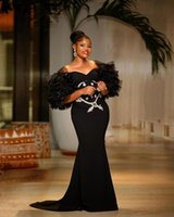 Modern Black Aso Ebi Evening Dresses Sweetheart Riffles Half Sleeves Robe De Marrige Zipper Back Long Mermaid Prom Party Vestidos