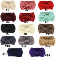 New designer Women Solid Crochet Bow Knot Turban Knitted Head Wrap Hairband Winter Ear Warmer Headband Hair Band Accessories DFF5045