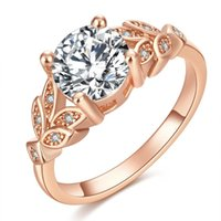 Wedding Rings FAMSHIN Crystal Rose Gold Color Leaf Engagement Cubic Zircon Ring Fashion Bijoux For Women Jewel