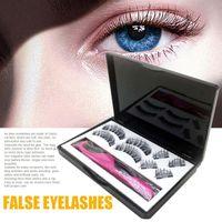 Eyelashes falsos 4 pares com clipe cosmética conjunto de maquiagem de maquiagem de maquiagem fácil desgaste de longa duração reutilizável extensão 3d nenhum presente ergonômico de cola