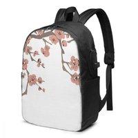 Bolso de la escuela de mochila para niño y niña Flor de cerezo de primavera con carga USB divertido Daypack estudiante adolescente