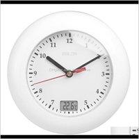 Baldr温度計バスルームの壁時計温度表示壁ぶら下がって吸引カップのアナログ防水シャワー時計時計クロックR7XTL VC6U5