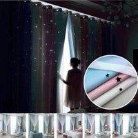 Rideaux de fenêtre Double couche Tulle Corttina Superposition Stars Hollow-Out Stars Rideaux Drapés Salon Salon Chambre à coucher D20