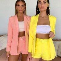Converses pour femmes Blazers 2021suit Shorts de veste costume automne Cardigan à revers de couleur solide