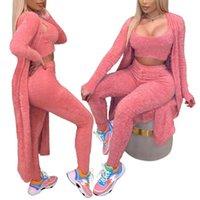 Women's Tracksuits Women 3 Piece Outfits Set Winter Sexy Fuzzy Fleece Long Cardigan Scoop Neck Crop Tank Top High Waist Pants Loungewear