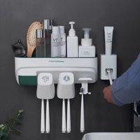 Conjunto de acessórios de banho Baispo Montado de parede automático Dispenser Dispenser Squeezer Free-Punch Toothbrush Holder Acessórios para banheiro