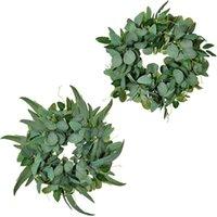 Flores decorativas grinaldas eucalipto grinalda artificial estilo nórdico planta plantas de casamento parede pendurado porta decoração simulação de salgueiro h