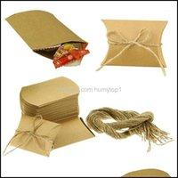 랩 이벤트 축제 축제 홈 Garden50pcs 크래프트 종이 소박한 선물 캔디 포장 가방 파티 결혼식 기념일 호의 상자 SU