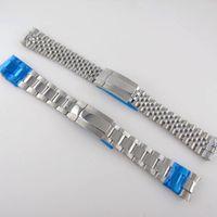 Reloj Bands Silver 20mm Oyster / Jubilee Style Strap Band Band Steel Partes de repuesto 316L Cierre de plegado de plegado pulido