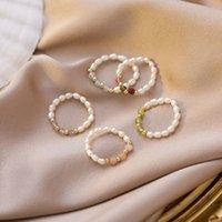 AOMU Ретро кристалл из бисера натуральные пресноводные жемчужные геометрические кольца для женщин непрерывное круглое минимальное кольцо