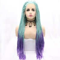 Synthetic Wigs Blue Purple Color Gradient Natural Long Hair Braided Box Braids Lace Frontal Cosplay Front For Women