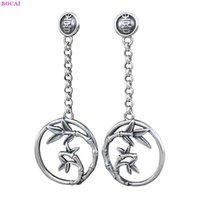 Bocai S925 Pendientes de plata esterlina Moda Thai Silver Personalidad de la hoja de bambú Tassel Pure Argentum Jewelry Ear Studs para mujeres