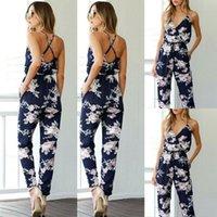 Gym Clothing Summer Women Jumpsuit Mesh Playsuit V Neck Floral Bandage Romper Ladies Long Trousers Clubwear Casual Pants Plus Size
