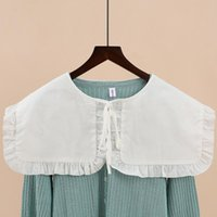 Bow Ties Women's Shirt Fake Collar 2021 Vintage Lace Embroidered False Blouse Sweater Decorative Detachable