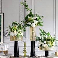 Nordische Hochzeitszubehör Champagner Gold hohe Glasvase für Heimwohnzimmer Desktop Obst Platte Ornament Weiche Dekorzubehör
